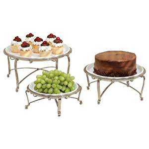 InterDesign York Round Buffet Stand, Set of 3, Satin Nickel/White