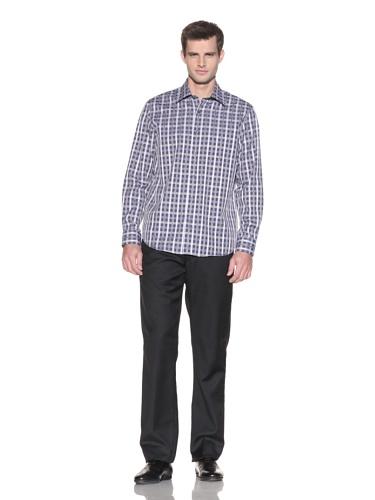 Report Collection Men's Sateen Check Button-Front Shirt (Light Blue)