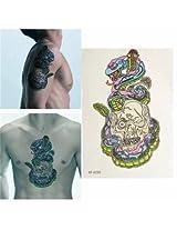 Colorful Snake Skull Arm Back Waterproof Temporary Body Art Tattoo Sticker