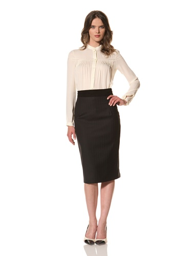 HOLMES AND YANG Women's Suede-Trimmed Pencil Skirt (Black)