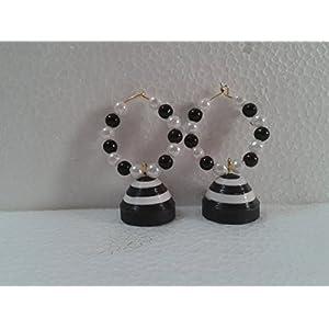 B Jeweled Black N White Quilled Earring