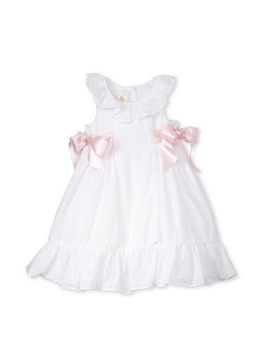 Laura Ashley Girl's Clip Dot Pink Ribbon Sides Dress (White)
