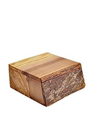 Pacific Merchants Olive Wood Rustic Salt Box,