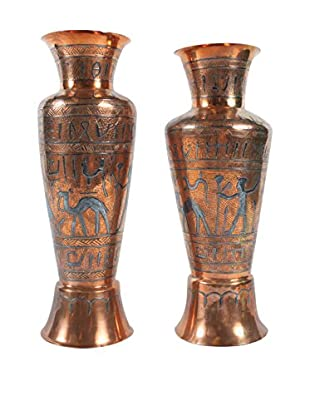 Pair of Egyptian Copper Vases, Metallic/Black