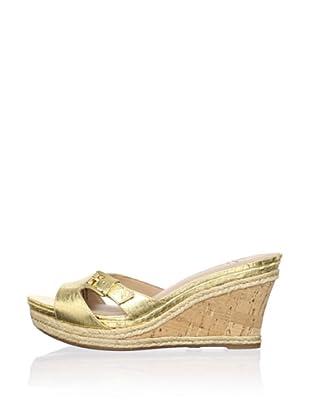 Lisa by Donald J Pliner Women's Wonnda Slide Wedge Sandal (Gold/Gold)