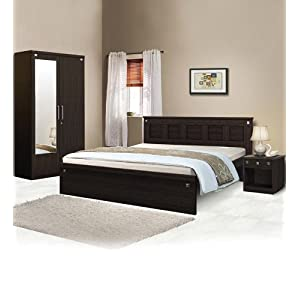 Spacewood Pyramid Bedroom Set (Queen Size Bed without storage + Bedside Table + 2 Door Wardrobe with Mirror)