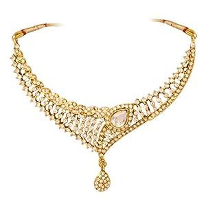 Vendee Golden Austrian Diamonds & Kundan Zinc Necklace Set for Women (VDF - 8112)