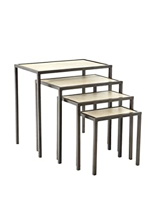 Jamie Young Set of 4 Vellum Nesting Tables, Natural/Black