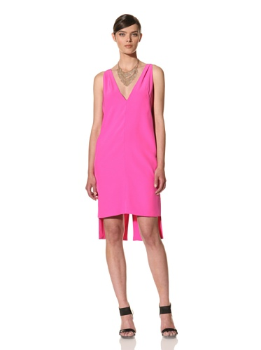 Juan Carlos Obando Women's Plunging Back V Dress (Neon Magenta)
