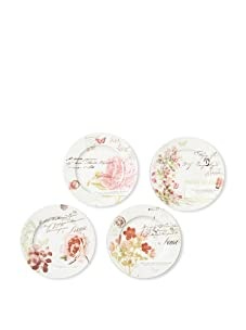 "Rosanna Set of 4 Primavera Dessert Plates, Assorted, 8"""