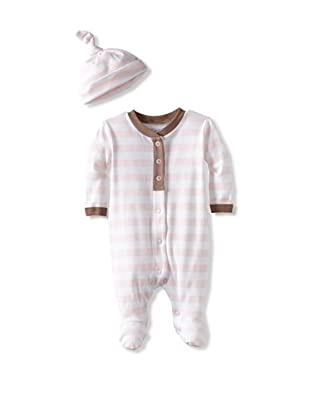 Coccoli Baby Cotton Footie with Cap (Pink Stripe)