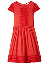 Red Chiffon Laced Dress Red 5-6Y