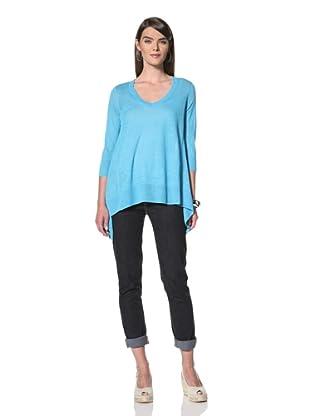 Acrobat Women's 3/4-Sleeve V-Neck Sweater (Turquoise)