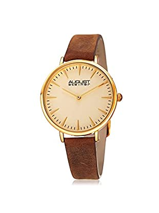 August Steiner Women's AS8187YGBR Crazy Horse Brown/White Leather Watch