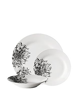 Premier Housewares Vajilla 12 Piezas Blanco/Negro