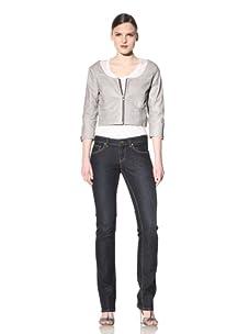 Hare + Hart Women's Minna Leather Jacket (Dove)
