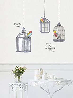 Ambiance Sticker Wandtattoo Birds In Cage Drawings