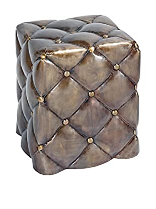 Home Philosophy Metal Tufted Ottoman, Brass
