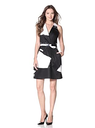 KaufmanFranco Women's Brush Stroke Print Dress (Onyx/White)