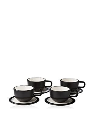 Kate Spade Saturday Set of 4 Low Teacups & Saucers, Black/White