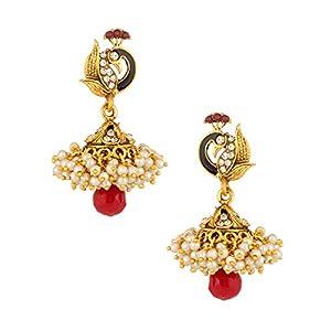 Voylla Golden Glow Peacock Dangler Earrings With CZ; Meenakari Work