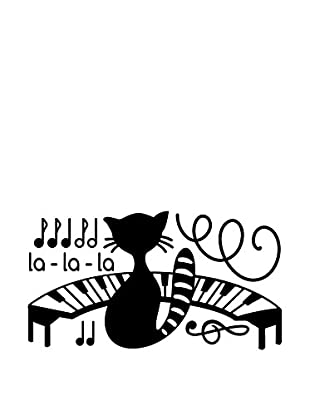 Ambiance Live Wandtattoo Cat, piano and music notes schwarz