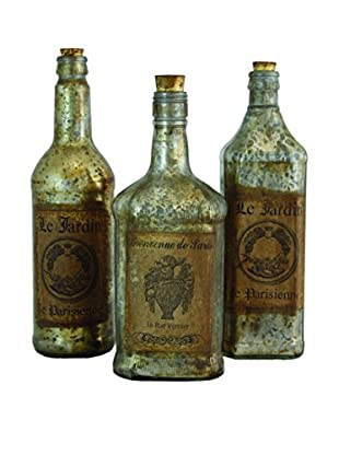 The Import Collection Set of 3 Moulin Bottles, Silver/Gold/Brown