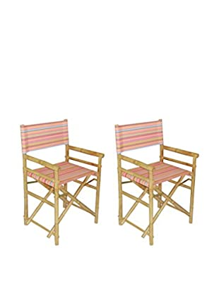 ZEW, Inc. Set of 2 Bamboo High Director Chairs, Multi