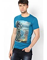 Aqua Blue Round Neck T-Shirt
