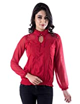 Peppermint Women Cotton Full Sleeves Casual Top Red X-Large
