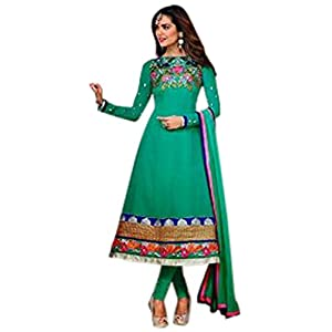 Esha Gupta Green, Blue & Pink Georgette Top With Santoon Bottom & Chiffon Dupatta Resham & Zari Embroidery Work Anarkali Salwar Suit