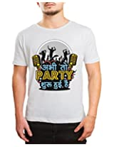 Bushirt Men's Round Neck Cotton T-Shirt (DN00135 - Party Shuru_Cream_X-Large)