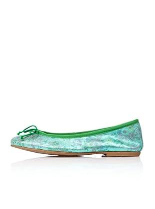 Bisue Bailarinas Brillo Flores (Verde)