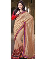 Beige Designer Sari with Golden Thread Weave and Tri-Color Patch Border - Chiffon