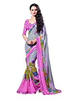 Pink & Grey Color Georgette Saree with Border and Blouse 6206