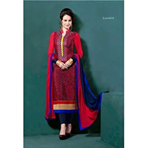 Crepe Red Semi-stitched Salwar Suit
