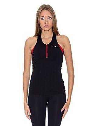 Naffta Camiseta Running (Negro / Rojo)