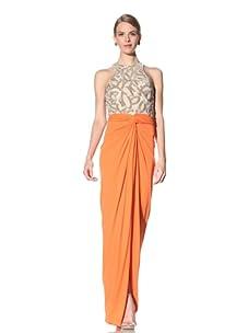 Naeem Khan Women's Caftan With Beaded Top and Draped Skirt (Nude/Orange)
