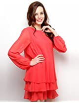 XnY Women's Layered Dress (DR 73615 XY_Red_12)