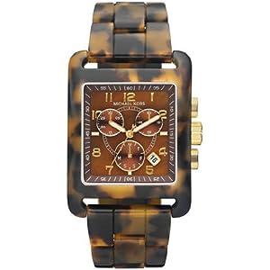 Women's Leopard Print Square Quartz Day Date Chronograph Link Bracelet