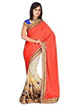 Sehgall Saree Indian Bollywood Designer Ethnic Professional Red Crepe Jacquard Mirror Work Embriodery Saree