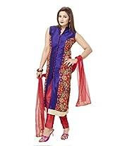 Ritu Creation Women's New Silk Designer Stitched Straight Long Chudidar Suit With Front Cut And Side Digital Print(RITU630_1_L_ Purple)