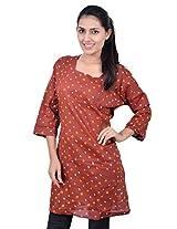 Kala Sanskruti Women's Cotton Silk Brown Kurti