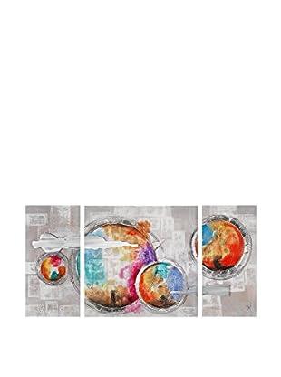 ARTE DAL MONDO Set Lienzo 3 Uds. Edgar Ramirez Astratto Multicolore