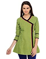 Aana Women's Cotton Regular Fit Kurti (ASKA055F039AGR, Green, XS)
