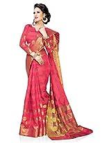 Meghdoot Artificial Silk Saree (ETHNIC_MT1420_CHERRY Woven Light Red Colour Sari)
