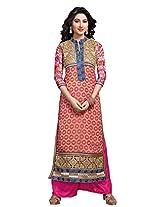 Atisundar Women Faux Georgette Dress Material (6666_30_48011 _Pink And Beige _30)