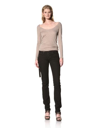 RICK OWENS Women's Berlin Cut Stretch Jean (Triple Black)