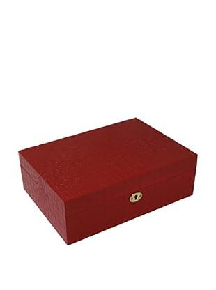 Bey-Berk Croc-Embossed Wood Jewelry Box, Red