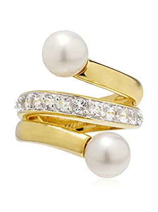 Perlaviva Anillo Cultured Pearl White Topaz